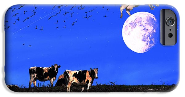 Cow Humorous iPhone Cases - The Cow Jumped Over The Moon iPhone Case by Wingsdomain Art and Photography