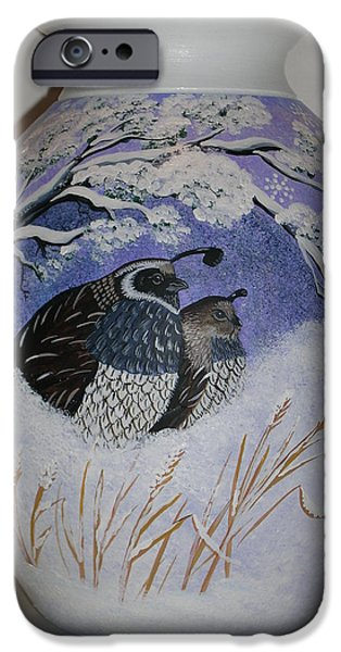 Winter Ceramics iPhone Cases - The Cozy Couple iPhone Case by Jennifer Lake