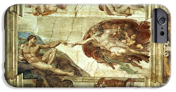 Eve iPhone Cases - The Creation of Adam iPhone Case by Michelangelo