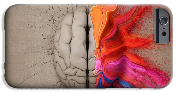 Thinking iPhone Cases - The Creative Brain iPhone Case by Johan Swanepoel