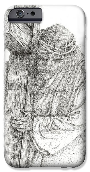 Jesus Drawings iPhone Cases - The Cross iPhone Case by Mayhem Mediums