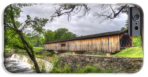 Grist Mill iPhone Cases - The Crossing Watson Mill Covered Bridge iPhone Case by Reid Callaway