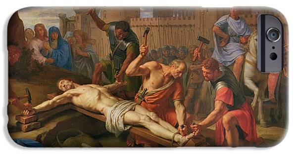 Hammer Paintings iPhone Cases - The Crucifixion iPhone Case by Philippe de Champaigne