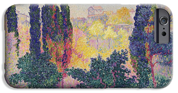 1856 iPhone Cases - The Cypresses at Cagnes iPhone Case by Henri-Edmond Cross