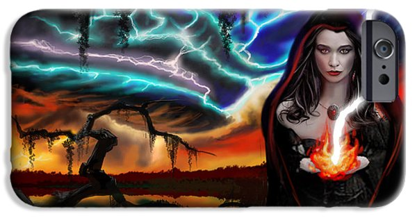 Power iPhone Cases - The Dark Caster Calls The Storm iPhone Case by James Christopher Hill