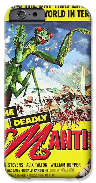 1950s Movies Mixed Media iPhone Cases - The Deadly Mantis 1957 iPhone Case by Mountain Dreams