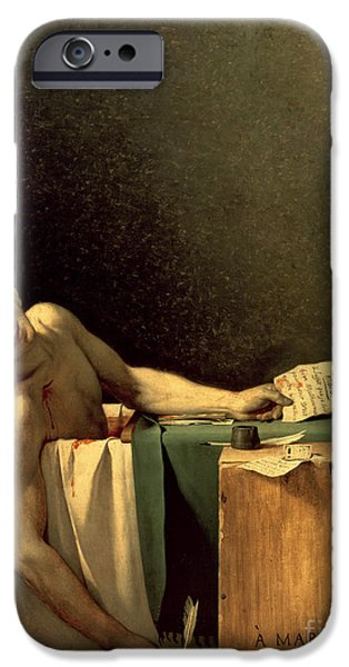 Ruler iPhone Cases - The Death of Marat iPhone Case by Jacques Louis David