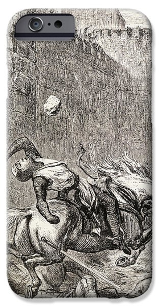 Religious Drawings iPhone Cases - The Death Of Simon De Montfort After iPhone Case by Ken Welsh