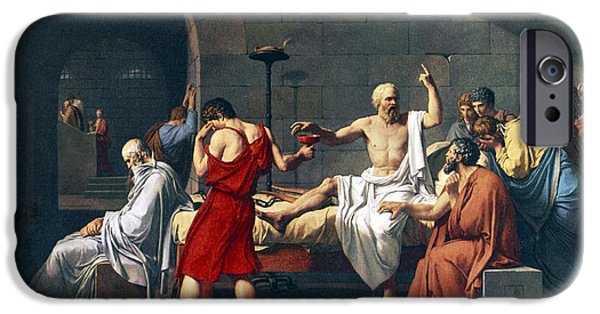 Dungeons iPhone Cases - The Death Of Socrates, 1787 Artwork iPhone Case by Sheila Terry