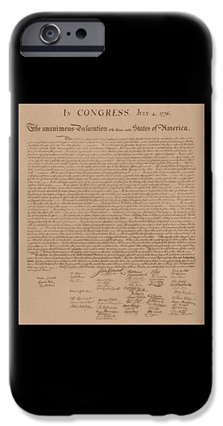 States Mixed Media iPhone Cases - The Declaration of Independence iPhone Case by War Is Hell Store