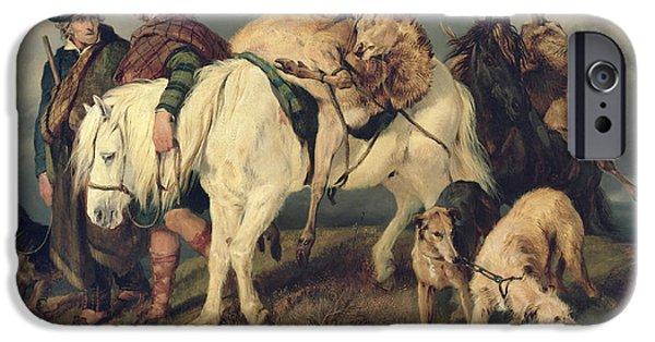 Rural iPhone Cases - The Deerstalkers Return iPhone Case by Sir Edwin Landseer