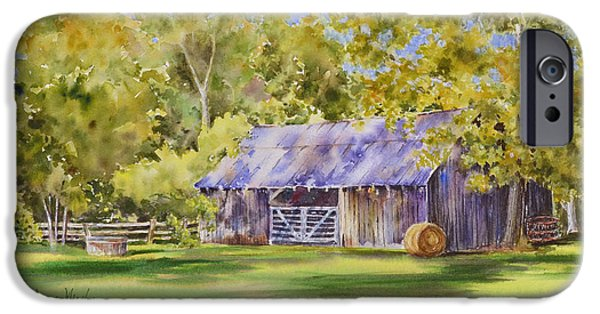 Haybales Paintings iPhone Cases - The Delaune Barn iPhone Case by Dana Mosby