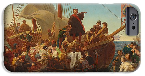 Exploring Paintings iPhone Cases - The Departure of Columbus from Palos iPhone Case by Emanuel Gottlieb Leutze