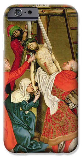 New Martyr iPhone Cases - The Deposition from the Altarpiece of the Dominicans iPhone Case by Martin Schongauer