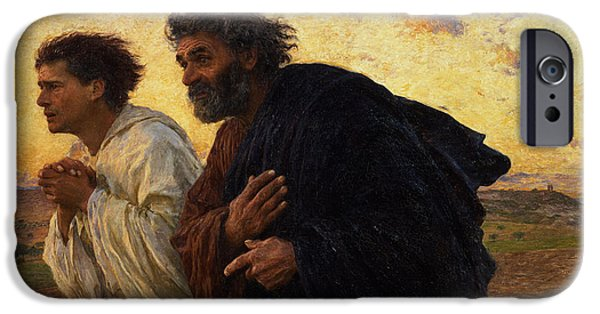 Beard iPhone Cases - The Disciples Peter and John Running to the Sepulchre on the Morning of the Resurrection iPhone Case by Eugene Burnand