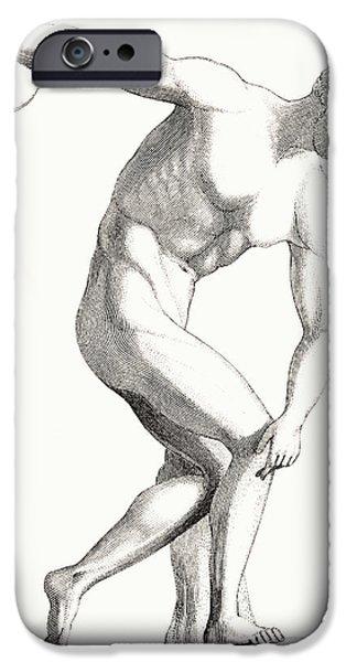 Greek Sculpture iPhone Cases - The Discobolus Of Myron. Greek iPhone Case by Vintage Design Pics