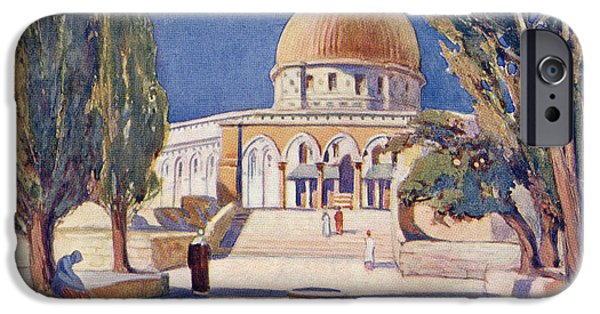 Religious Drawings iPhone Cases - The Dome Of The Rock On Temple Mount iPhone Case by Ken Welsh
