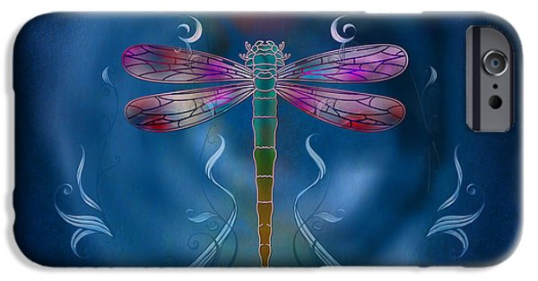 Filigree iPhone Cases - The Dragonfly Effect iPhone Case by Bedros Awak