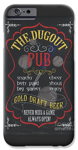 Pitcher iPhone Cases - The Dugout Pub iPhone Case by Debbie DeWitt