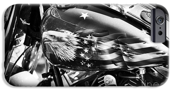 Airbrush Photographs iPhone Cases - The Eagle Has Landed Monochrome iPhone Case by Tim Gainey