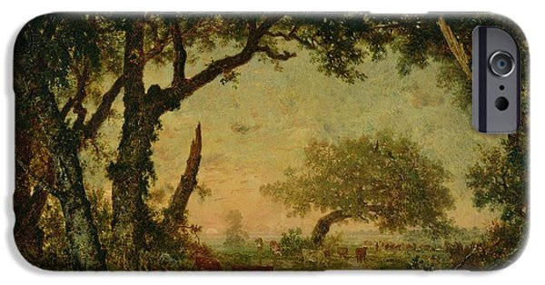 Setting Sun iPhone Cases - The Edge of the Forest at Fontainebleau iPhone Case by Theodore Rousseau