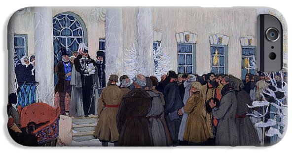 Liberation Paintings iPhone Cases - The Emancipation of Russian Serfs iPhone Case by Boris Mihajlovic Kustodiev