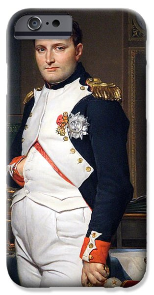 David; Jacques Louis (1748-1825) iPhone Cases - The Emperor Napoleon In His Study At The Tuileries By Jacques Louis David -- Up Close iPhone Case by Cora Wandel