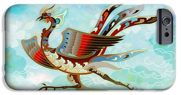 Flora Mixed Media iPhone Cases - The Empress - Flight Of Phoenix - Blue Version iPhone Case by Bedros Awak