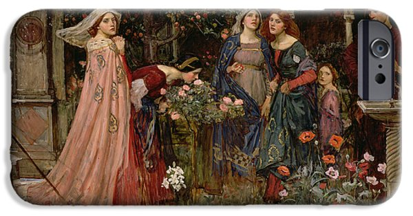 Pre-raphaelites iPhone Cases - The Enchanted Garden iPhone Case by John William Waterhouse