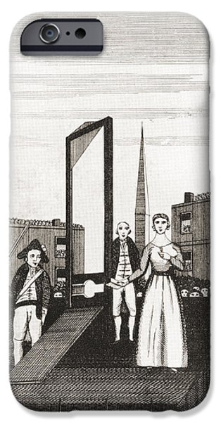 Charlotte Drawings iPhone Cases - The Execution Of Charlotte Corday iPhone Case by Vintage Design Pics