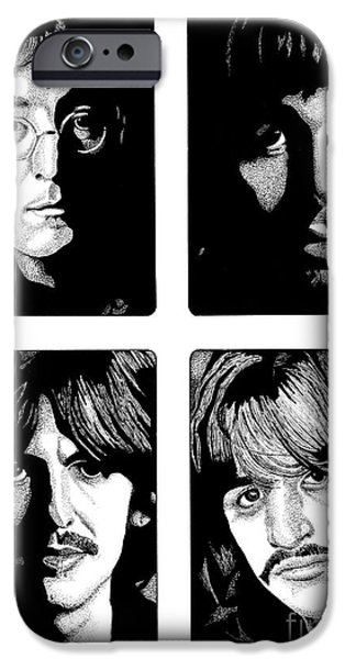 Music Drawings iPhone Cases - The Fab Four iPhone Case by Cory Still