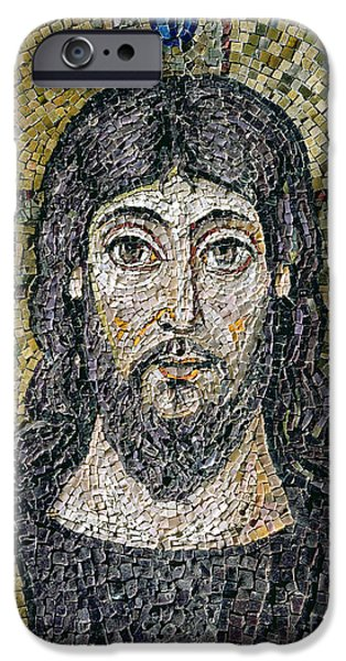 Religious Reliefs iPhone Cases - The face of Christ iPhone Case by Byzantine School
