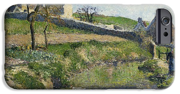 Camille Pissarro iPhone Cases - The Farm at Osny iPhone Case by Camille Pissarro