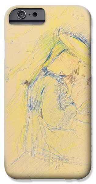 Berthe Paintings iPhone Cases - The Farmer And Flageolet Apple iPhone Case by Berthe Morisot