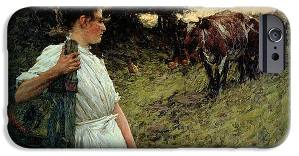 The Horse iPhone Cases - The Farmers Daughter iPhone Case by Henry Herbert La Thangue