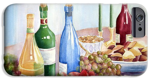 Italian Wine Paintings iPhone Cases - The Feast iPhone Case by Deborah Ronglien