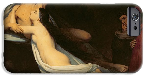 Inferno iPhone Cases - The figures of Francesca da Rimini and Paolo da Verrucchio appear to Dante and Virgil iPhone Case by Ary Scheffer
