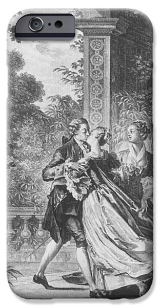 Recently Sold -  - Couple iPhone Cases - The first kiss of love iPhone Case by Jean Michel the Younger Moreau