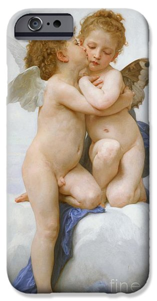 Cherub iPhone Cases - The First Kiss  iPhone Case by William Adolphe Bouguereau