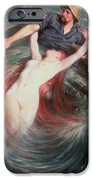 Sea iPhone Cases - The Fisherman and the Siren iPhone Case by Knut Ekvall