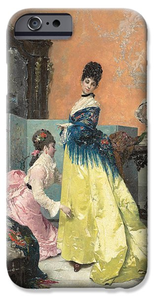 Dressing Room Paintings iPhone Cases - The Fitting iPhone Case by Alfred Emile Stevens