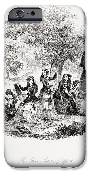 Sisters Drawings iPhone Cases - The Five Sisters Of York. Illustration iPhone Case by Vintage Design Pics