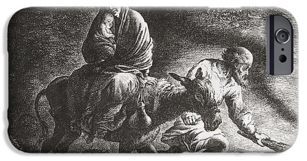 Religious Drawings iPhone Cases - The Flight To Egypt After The Painting iPhone Case by Ken Welsh