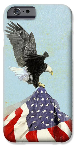 Old Glory iPhone Cases - The Flight Vintage Americana iPhone Case by Filippo B