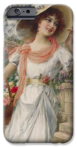 Best Sellers -  - Basket iPhone Cases - The Flower Girl iPhone Case by Emile Vernon