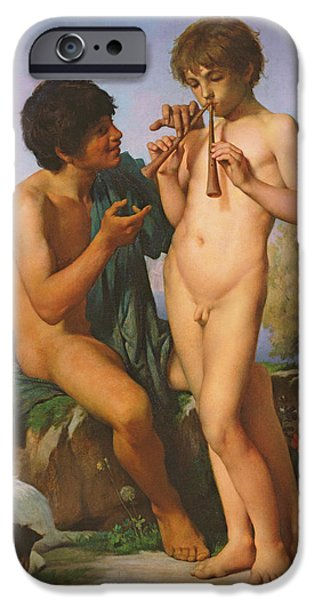 Youthful iPhone Cases - The Flute Lesson iPhone Case by Jules Elie Delaunay