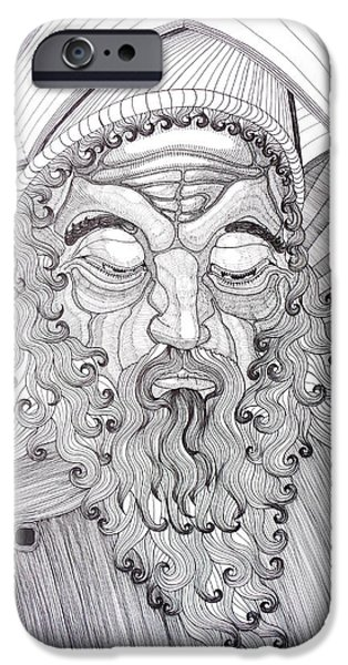 Religious Drawings iPhone Cases - The Fool The King iPhone Case by Rune Larsen