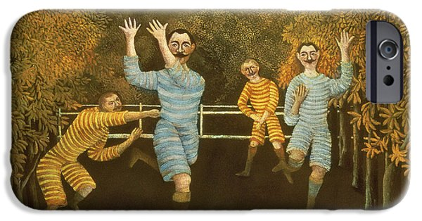 Football Paintings iPhone Cases - The Football players iPhone Case by Henri Rousseau