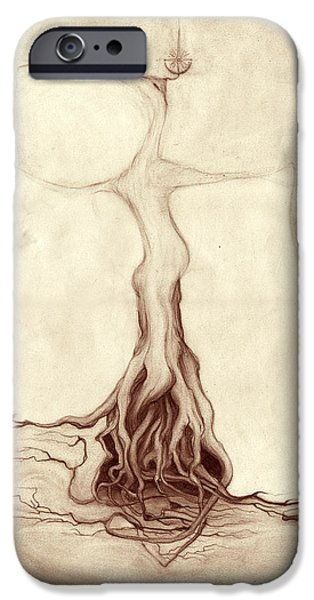 Tree Roots Drawings iPhone Cases - The Forest Doctrine iPhone Case by Outrega Anderson