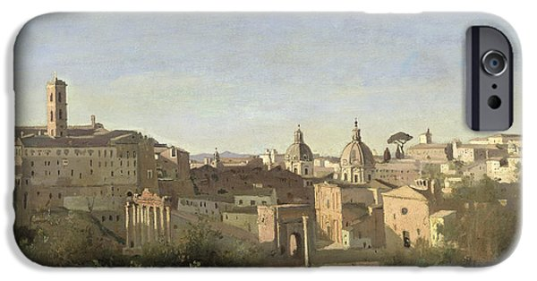 1796 iPhone Cases - The Forum seen from the Farnese Gardens iPhone Case by Jean Baptiste Camille Corot